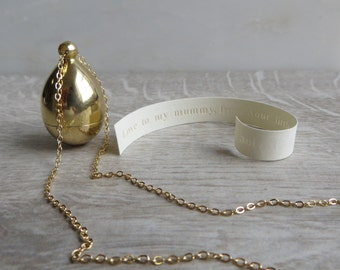Brass Secret Message Locket Necklace