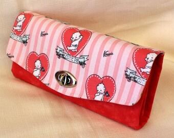 Pink Kewpie Love  Clutch Wallet