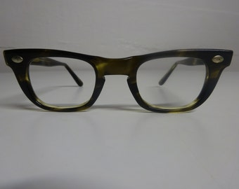 Vintage 1950's American Optical Buddy Holly Style Eyeglass Frames, Rockabilly Eyeglasses, Mad Men eyeglass Frames  - FREE SHIPPING