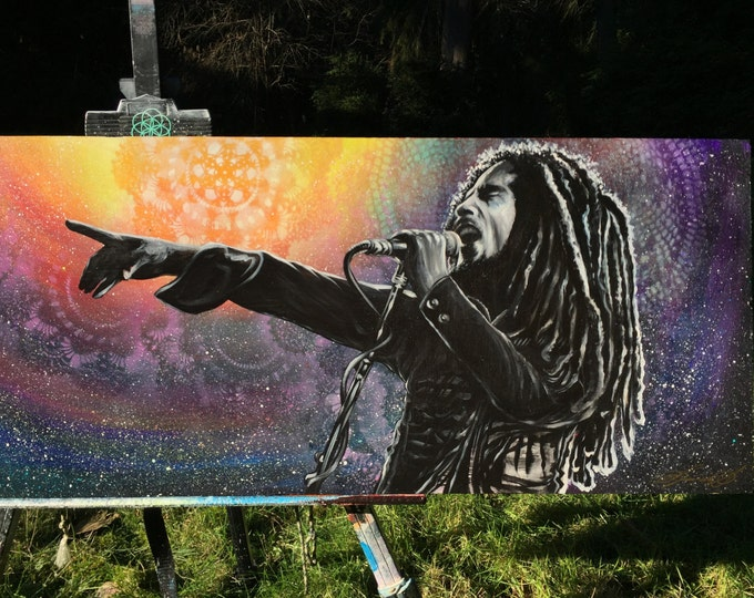 "Giclee Canvas Print *embellished* - Bob Marley Tribute - ""Tell The Children The Truth"""