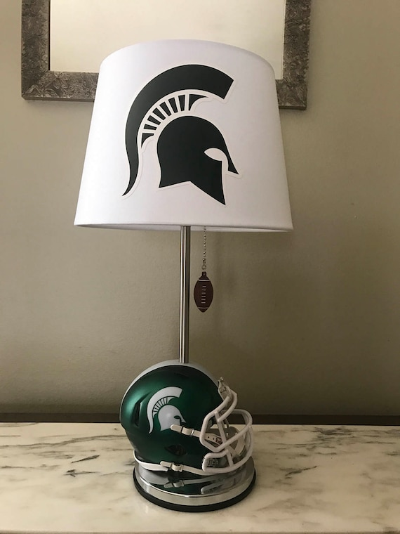 Michigan State mini football helmet lamp. Ncaa sports team.