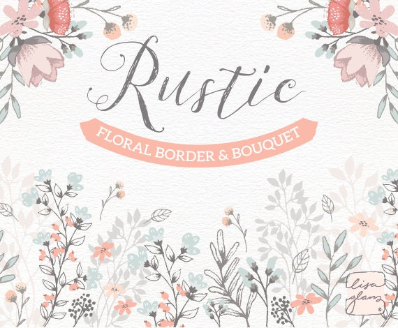 Border Design For Wedding Invitation: Floral Border & Bouquet: Rustic Hand Drawn Floral Clipart