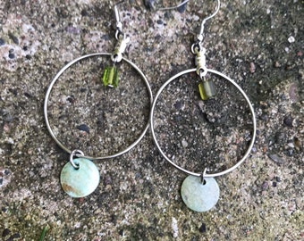 Silver dangle hoops with shell details