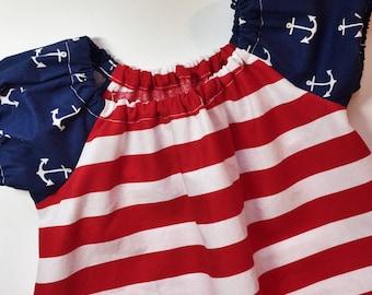 4th of July dress, 12/18 months, red white and blue dress, patriotic dress, nautical dress, peasant sress, birthday dress, girls dress