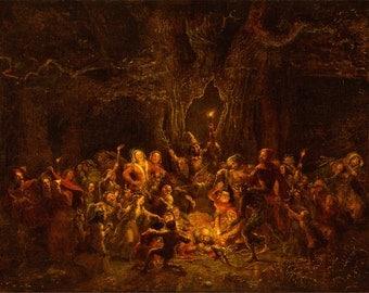 George Cruikshank: Herne's Oak from 'The Merry Wives of Windsor' Act V, Scene v (Shakespeare). Fine Art Print/Poster. (004112)