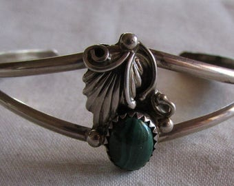Navajo Sterling Silver and Malachite Cuff Bracelet