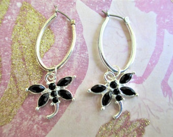 Dragonfly Hoop Earrings, OOAK Dragonfly Black and Silver Hoop Earrings