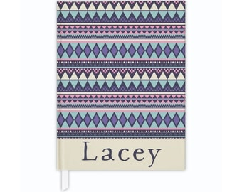 Personalized journal in tribal print, custom journal, hardcover journal, journal diary, writing journal, lined or blank journal