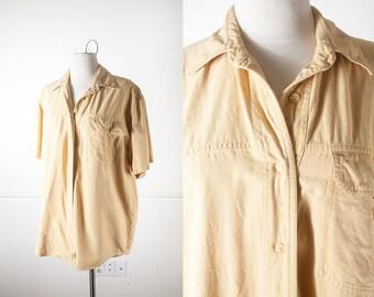SILK Button Down Shirt, 90s Shirt, Soft Grunge Shirt, 90s top, 80s top, Oversized Shirt, Pastel Grunge Clothing, Boyfriend Shirt, 80s Shirt
