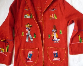 Vtg 1940s Red Mexican Mexico Souvenir Jacket Applique Yarn Embroidered Wool M
