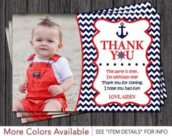 Nautical Thank You Card - Navy and Red Chevron Thank You Card