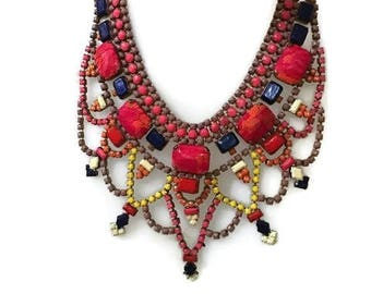 CAPERBERRY hand painted rhinestone super statement necklace