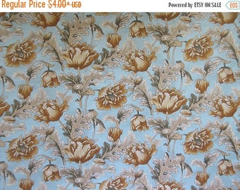 """Poppies Fabric - Brown Blue Floral - Beth Ann Bruske for David Textiles - Quilters Cotton -  OOP - 25"""" x 44"""" Only"""