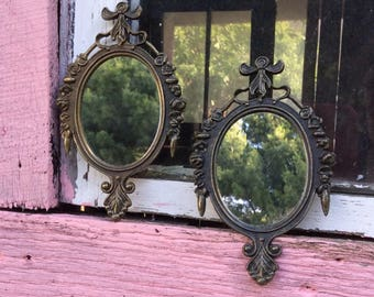 Vintage Pair of Frames, Vintage Italian Frames, Rococo Frames, Ornate Frames, Small Brass Frames, Vintage Mirrors, Pair of Mirrors