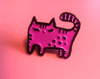Feminist pussy cat enamel pin | feminist pin | feminist enamel pin | cat enamel pin | cat pin | cat lady pin | pussy grabs back | pink cat