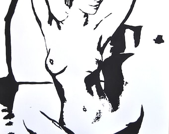 Woman, Nacked,  Black and white, Original Art, Acrylic painting, Acryl on Paper, Woman , Realism, Abstract, Certificate, 16,1 x 24,4 in