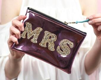 "Mirror Shine Sparkly ""Mrs"" Bride Bag"