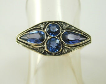 La Belle Epoque natural sapphire diamond ring gold platinum 1.69 certificated