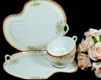2 Snack Sets , Ovale plates and cups in fine porcelain , Hand Painted Noritake Dinnerware Set