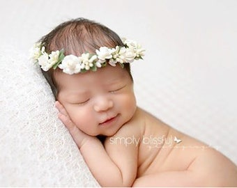 Flower Crown, Ivory Crown, Floral Crown, Decorative Headband, Photo Prop, Flower Girl Headpiece