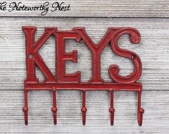 Custom CHOOSE YOUR COLOR - Key Hook // Key Holder // Cast Iron Key Hook // Cast Iron Keys // Keys Wall Hook // Key Hanger // key decor //