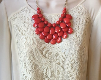 Deep Coral Bubble Bib Beaded Chandelier Layered Statement Necklace with Matching Earrings