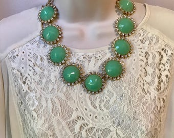 Mint Green Crystal Sparkle Bubble Bib Chandelier Statement Necklace