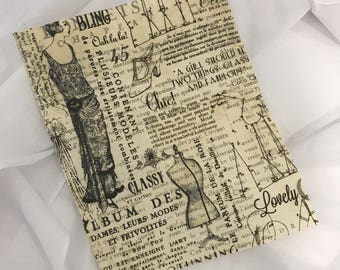 French Fabric Remnant Sepia 1920's Dressmaking. Craft fabric idea from Australia