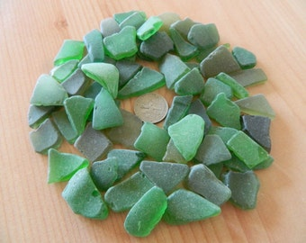 Sea glass in shades of green