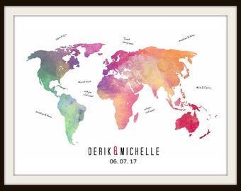 Push Pin Wedding World Map Signature Guest Book, Bride and Groom Gift, Wedding Anniversary Gift, Alternative Guest Book, Travel Map - 47977B