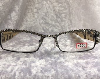 Sparkling Specs +2.00 reading glasses with Black Diamond Swarovski Crystals on a Multi Black and White frame