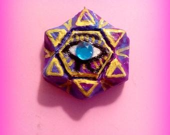 "Purple, Blue & Yellow ""FemEye"", The Goddess, Hexagram Pendant, Eye of  Horus, Eye of Goddess, polymer clay pendant"