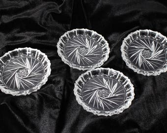 Heavy Cut Glass Coasters Set of 4