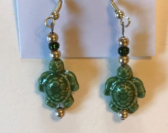 Little Green Turtle Earrings