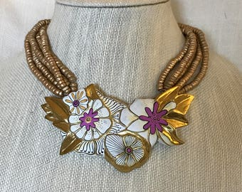 Laurel Burch Wood Handpainted Flower Necklace