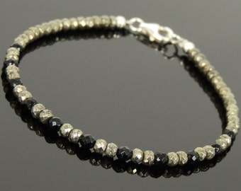 Men's Women Faceted Gold Pyrite Black Onyx Bracelet 925 Sterling Silver Beads Clasp SMALL BEADS DiyNotion Handmade BR1087