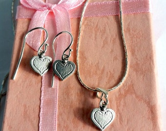 Love set jewelry, Sterling jewelry set, Heart jewelry set, Heart set, Sterling silver, jewelry set, Small silver heart, Valentine's day gift