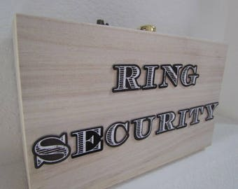 Ring security wooden box for ring bearer box for wedding rings for bride and groom ring security briefcase ring security box wood