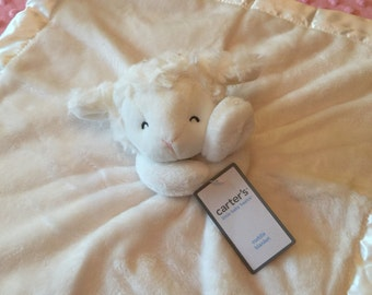 White Lamb WHITE Security Blanket Lovey - Monogrammed