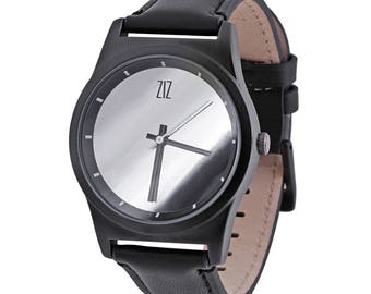 Mirror watch ZIZ , black with matte coating, genuine leather
