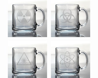 Science Coffee Mugs / Set of 4 / Free Personalization / 13 oz Glass Coffee Mug / Personalized Coffee Mug / Personalized Gift