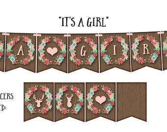 """IT'S A GIRL! (Woodland Wreath) Printable Party Banner and Decoration - Celebrate that """"Its a girl"""" with this charming woodland wreath"""