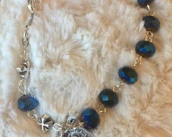 Navy Rosary Bracelet