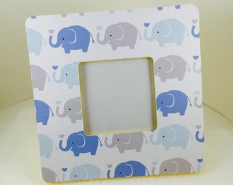 Baby shower gift- nursery decor- baby room wall decor-blue-yellow- new baby- custom baby gift- baby picture frame-elephants