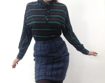 Vintage Pierre CARDIN skirt 70s wool plaid high waisted skirt size 38