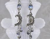Moon Magick - Long Dangle Moon Earrings, Blue Celestial Earrings, Moon and Star Earrings, purple moon earrings, black moon earrings