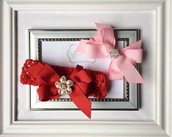 Baby double stacked bows on crotchet headband, Boutique bow, Crotchet Headband, toddler headband, baby Headband, pinwheel bow,