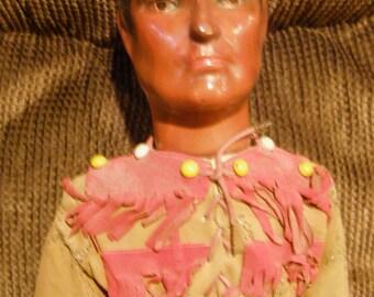 """Tonto, The Lone Ranger's Sidekick from 1930s – 20"""" Composition Doll – From the The Lone Ranger Movies - Dollcraft Novelty Company"""