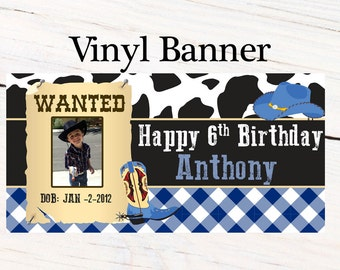 Western Cowboy Banner ~ Personalized Party Banners - Photo First Birthday Banner - Custom Banner - Cowboy Photo Banner