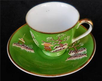 Occupied Japan Moriage Cup & Saucer Green with Pagodas
